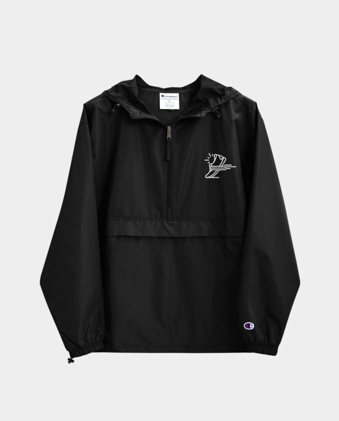 embroidered champion packable jacket black