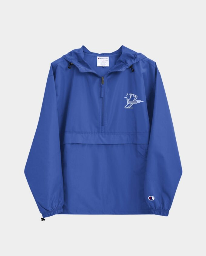 embroidered champion packable jacket blue