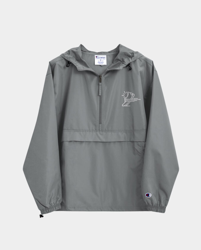 embroidered champion packable jacket gray