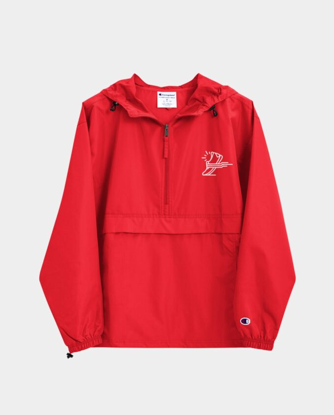embroidered champion packable jacket scarlet