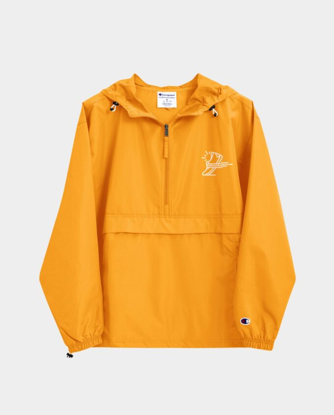 embroidered champion packable jacket gold