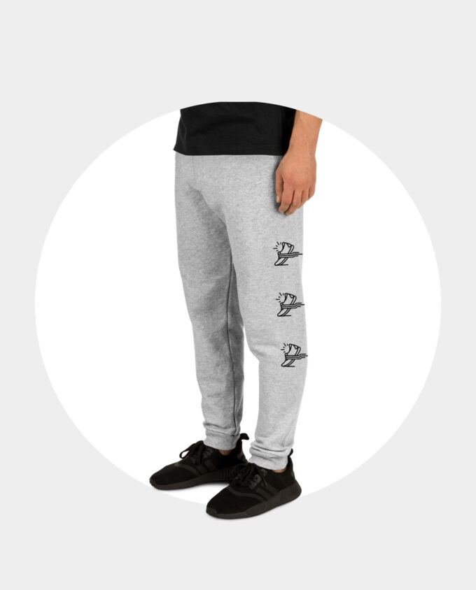 gray running joggers side