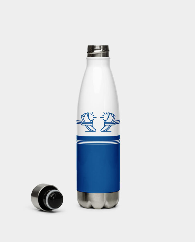 blue shoes stainless steel water bottle back