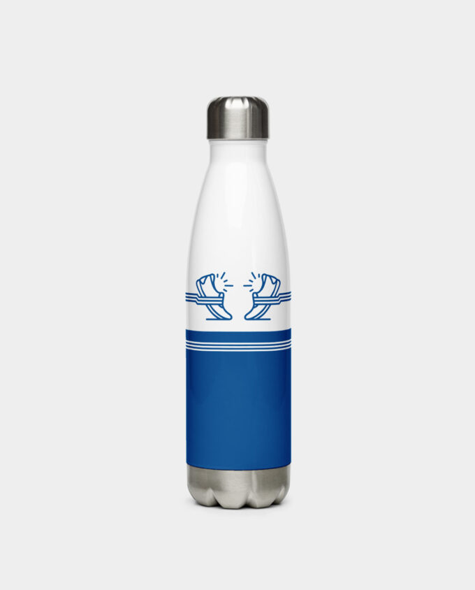 blue shoes stainless steel water bottle front