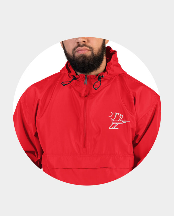 embroidered champion packable jacket red model